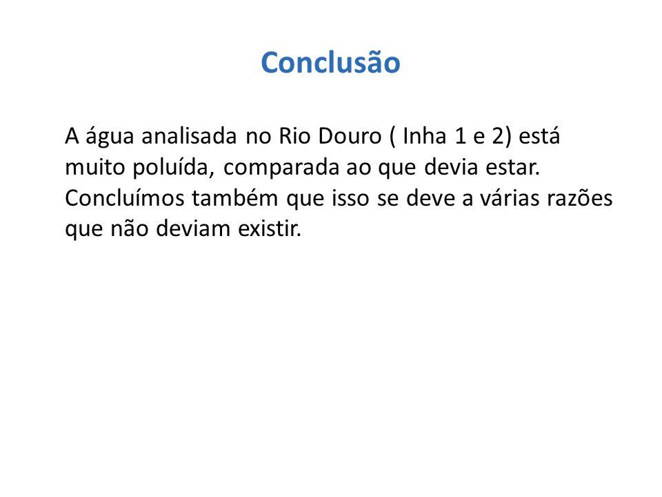 Conclusão A água analisada no Rio Douro ( Inha 1 e 2) está muito poluída, comparada ao que devia estar. Concluímos também que isso se deve a várias ra