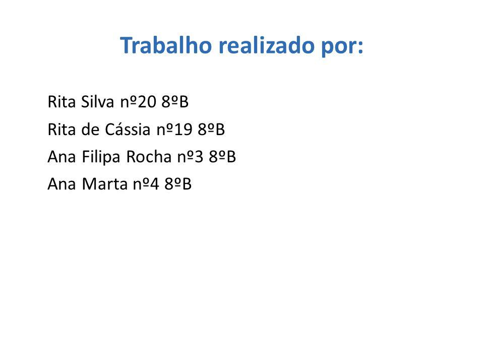 Trabalho realizado por: Rita Silva nº20 8ºB Rita de Cássia nº19 8ºB Ana Filipa Rocha nº3 8ºB Ana Marta nº4 8ºB