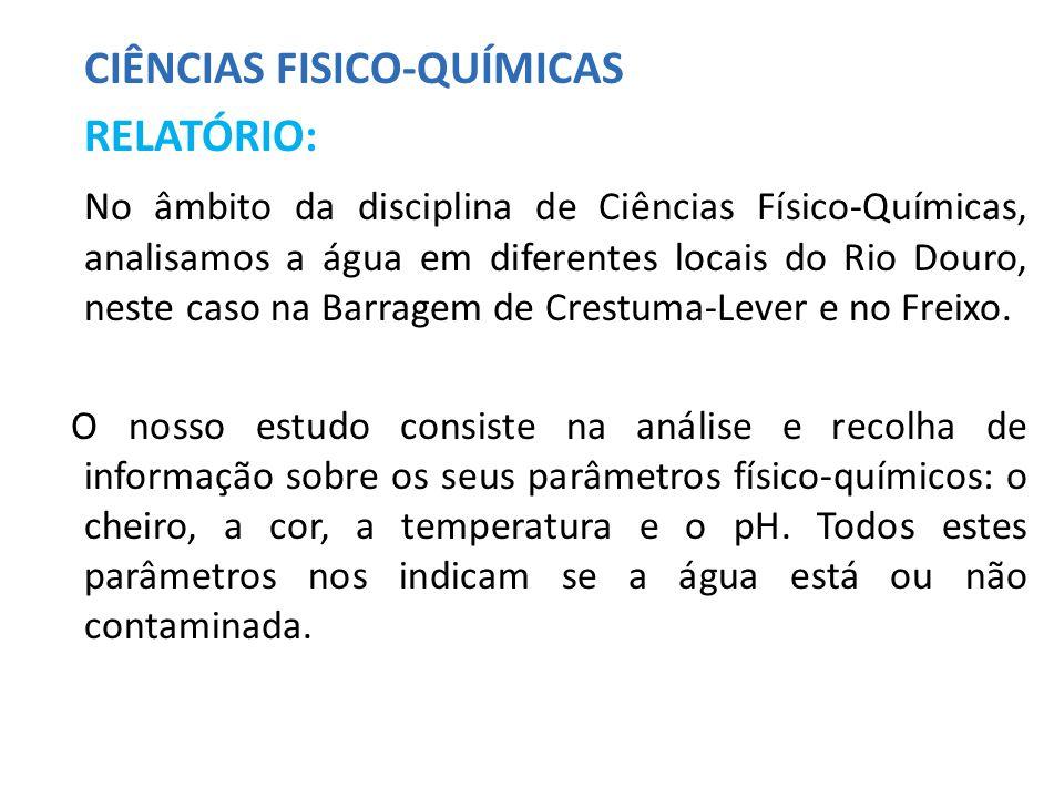 CIÊNCIAS FISICO-QUÍMICAS RELATÓRIO: No âmbito da disciplina de Ciências Físico-Químicas, analisamos a água em diferentes locais do Rio Douro, neste ca