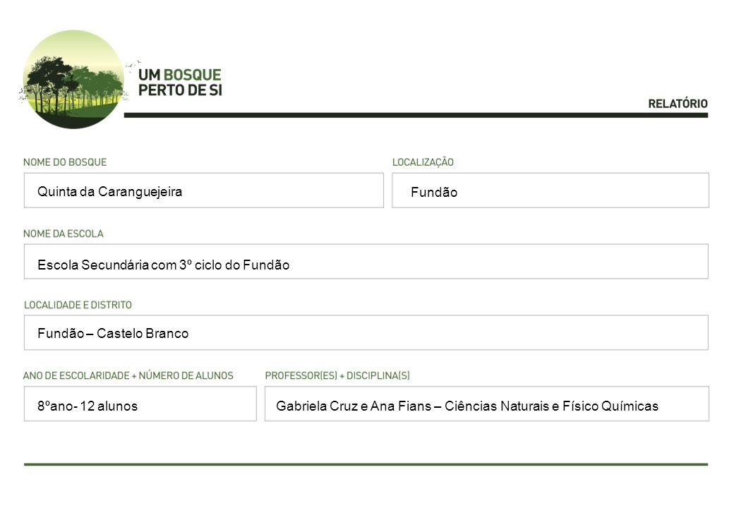 Fundão Escola Secundária com 3º ciclo do Fundão Fundão – Castelo Branco Gabriela Cruz e Ana Fians – Ciências Naturais e Físico Químicas Quinta da Caranguejeira 8ºano- 12 alunos