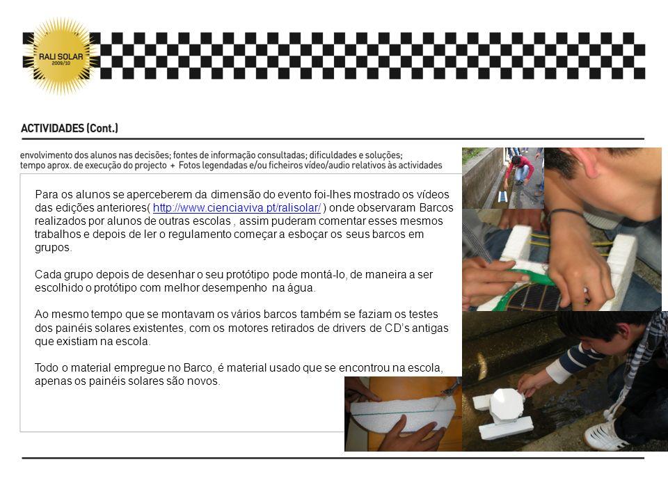 Para os alunos se aperceberem da dimensão do evento foi-lhes mostrado os vídeos das edições anteriores( http://www.cienciaviva.pt/ralisolar/ ) onde ob