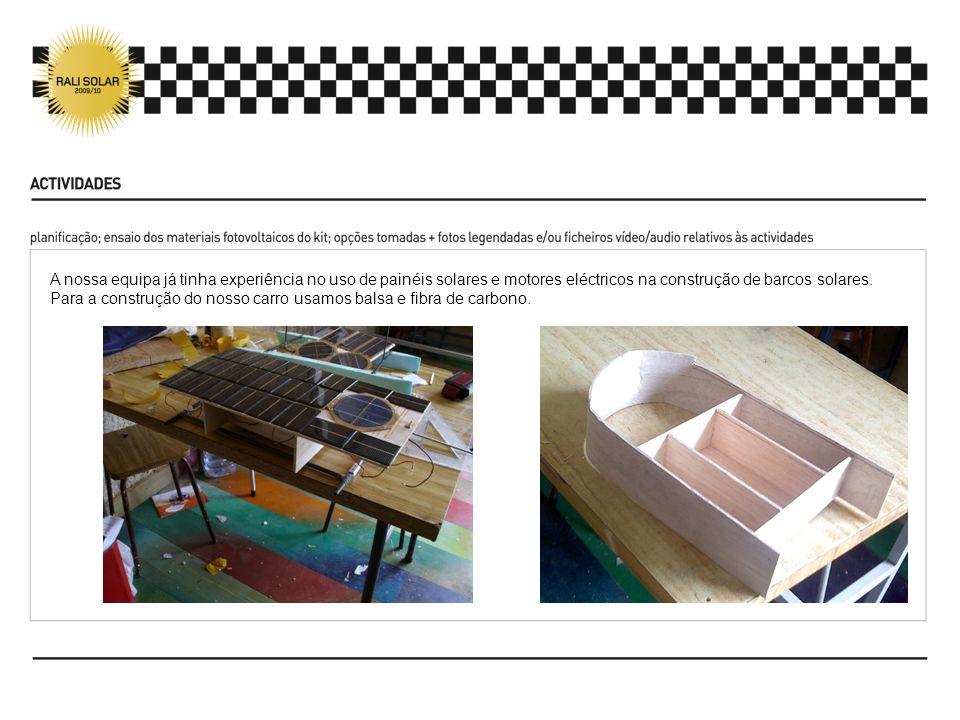 A nossa equipa já tinha experiência no uso de painéis solares e motores eléctricos na construção de barcos solares.