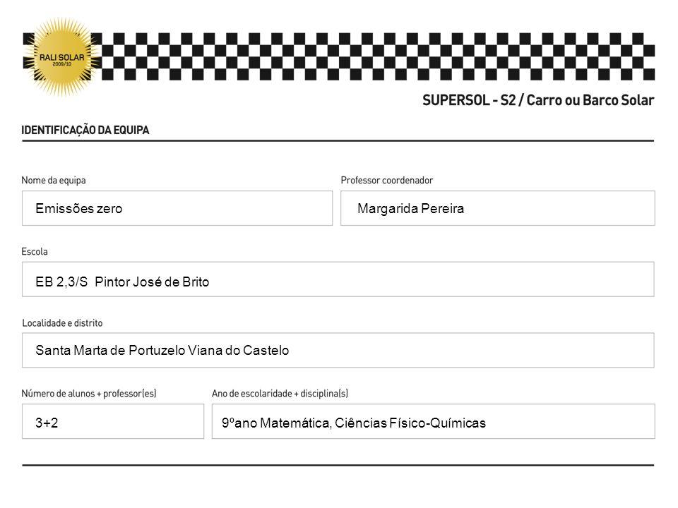 Margarida Pereira EB 2,3/S Pintor José de Brito Santa Marta de Portuzelo Viana do Castelo 9ºano Matemática, Ciências Físico-Químicas Emissões zero 3+2