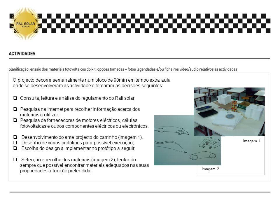 Imagem 1 Imagem 2 Consulta, leitura e análise do regulamento do Rali solar; Pesquisa na Internet para recolher informação acerca dos materiais a utili