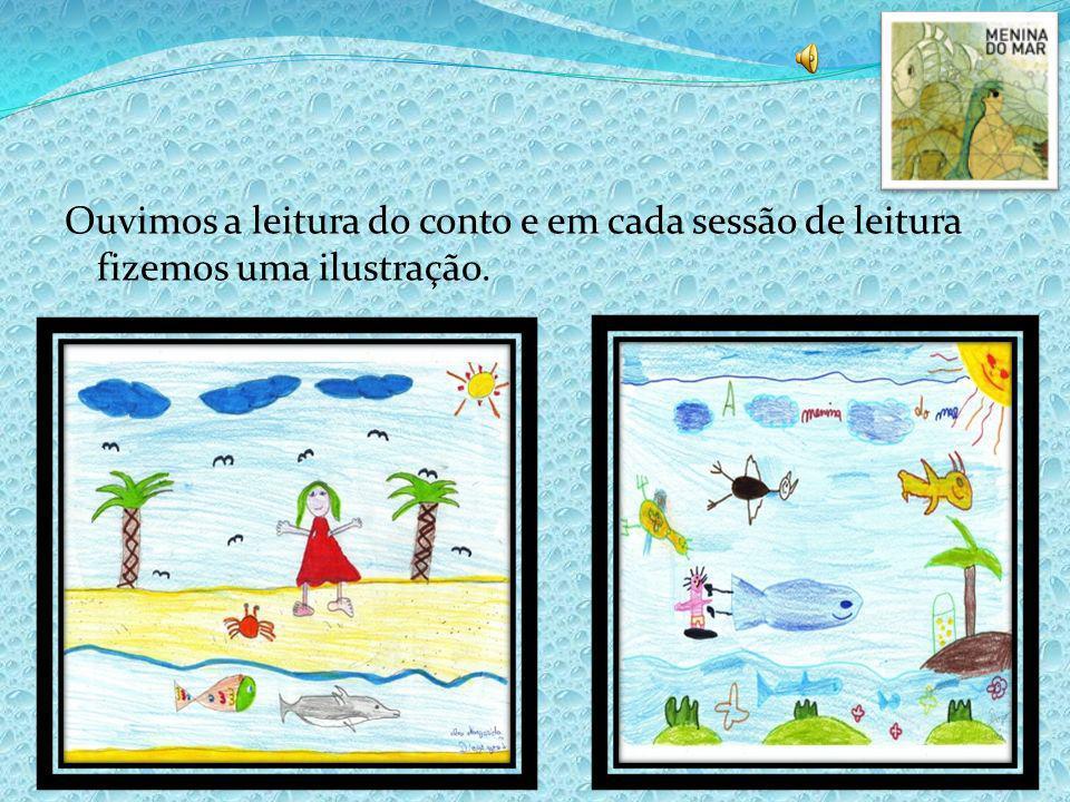 Ouvimos a leitura do conto e em cada sessão de leitura fizemos uma ilustração.