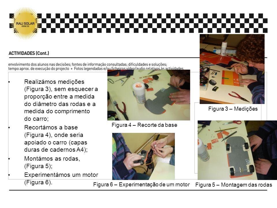 Realizámos medições (Figura 3), sem esquecer a proporção entre a medida do diâmetro das rodas e a medida do comprimento do carro; Recortámos a base (Figura 4), onde seria apoiado o carro (capas duras de cadernos A4); Montámos as rodas, (Figura 5); Experimentámos um motor (Figura 6).