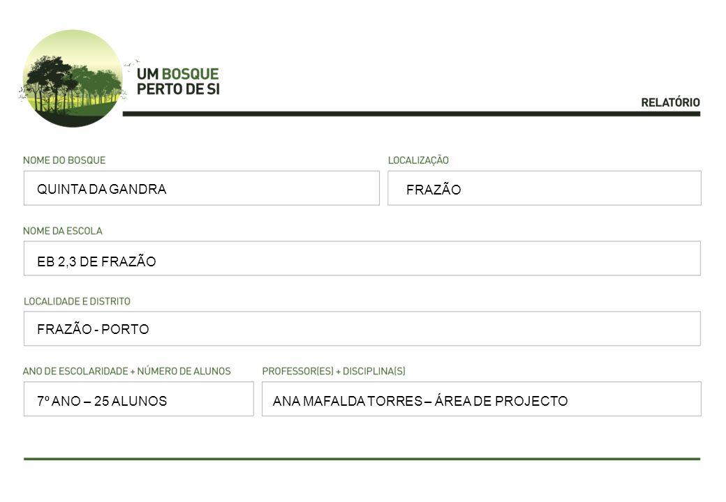 FRAZÃO EB 2,3 DE FRAZÃO FRAZÃO - PORTO ANA MAFALDA TORRES – ÁREA DE PROJECTO QUINTA DA GANDRA 7º ANO – 25 ALUNOS