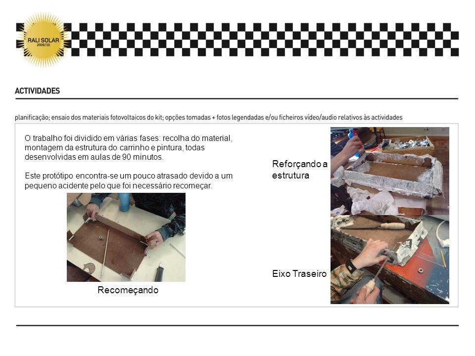 Os alunos seleccionaram os materiais tendo em conta a sua resistência sendo também responsáveis pelo design do carrinho.