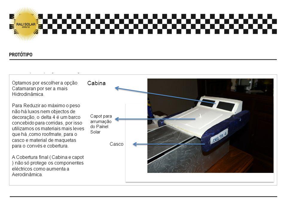 Cabina Capot para arrumação do Paínel Solar Casco Optamos por escolher a opção Catamaran por ser a mais Hidrodinâmica. Para Reduzir ao máximo o peso n