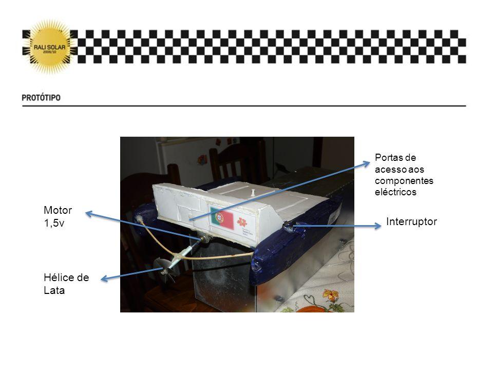 Motor 1,5v Hélice de Lata Portas de acesso aos componentes eléctricos Interruptor