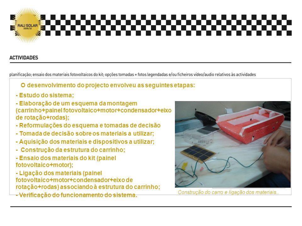 - Estudo do sistema; - Elaboração de um esquema da montagem (carrinho+painel fotovoltaico+motor+condensador+eixo de rotação+rodas); - Reformulações do