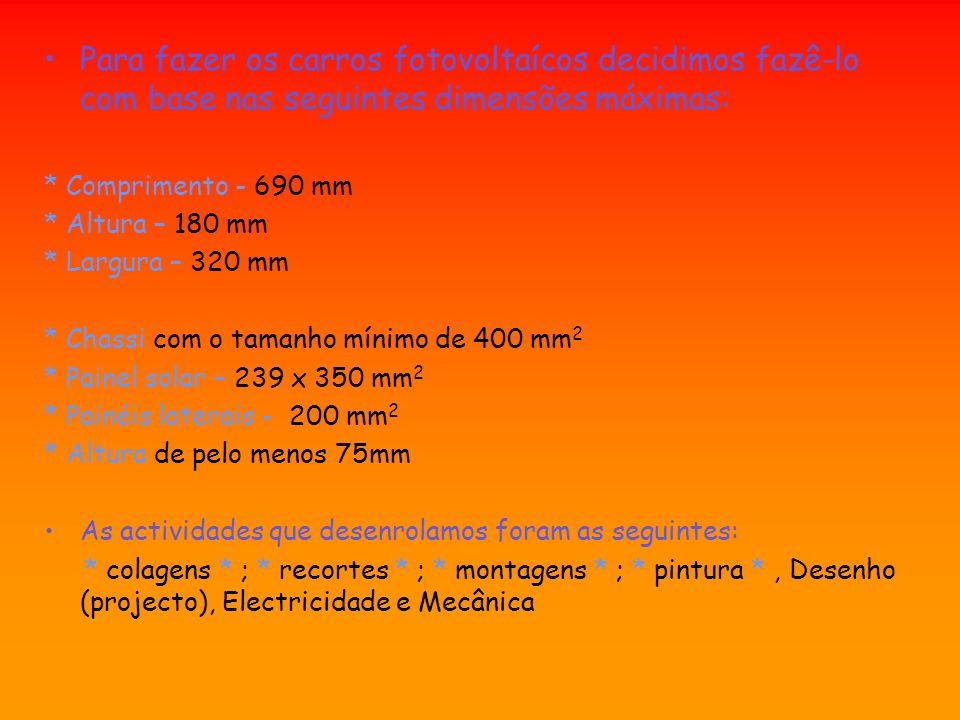Para fazer os carros fotovoltaícos decidimos fazê-lo com base nas seguintes dimensões máximas: * Comprimento - 690 mm * Altura – 180 mm * Largura – 32