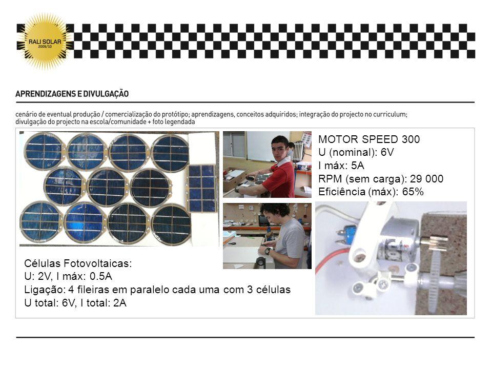MOTOR SPEED 300 U (nominal): 6V I máx: 5A RPM (sem carga): 29 000 Eficiência (máx): 65% Células Fotovoltaicas: U: 2V, I máx: 0.5A Ligação: 4 fileiras em paralelo cada uma com 3 células U total: 6V, I total: 2A