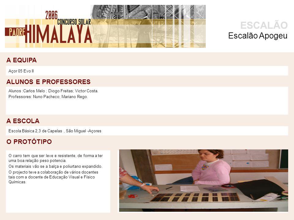 A EQUIPA O PROTÓTIPO ALUNOS E PROFESSORES A ESCOLA ESCALÃO foto Açor 05 Evo II Alunos :Carlos Melo ; Diogo Freitas; Victor Costa.