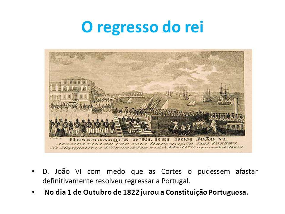O regresso do rei D. João VI com medo que as Cortes o pudessem afastar definitivamente resolveu regressar a Portugal. No dia 1 de Outubro de 1822 juro