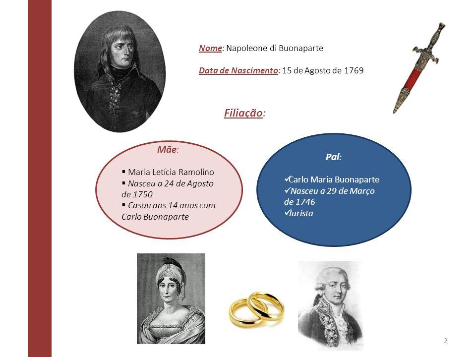 Nome: Napoleone di Buonaparte Data de Nascimento: 15 de Agosto de 1769 Filiação: Mãe : Maria Letícia Ramolino Nasceu a 24 de Agosto de 1750 Casou aos
