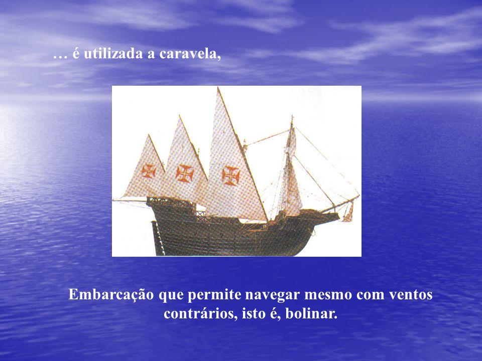 … é utilizada a caravela, Embarcação que permite navegar mesmo com ventos contrários, isto é, bolinar.