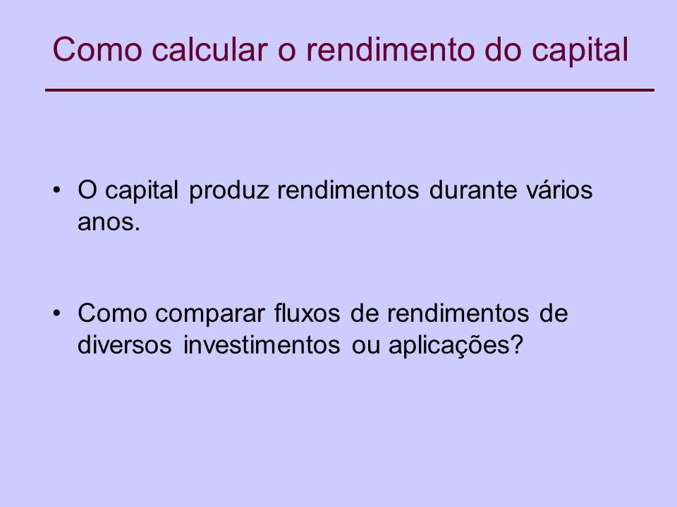 Como calcular o rendimento do capital O capital produz rendimentos durante vários anos.