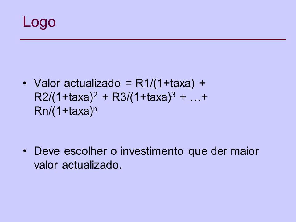 Logo Valor actualizado = R1/(1+taxa) + R2/(1+taxa) 2 + R3/(1+taxa) 3 + …+ Rn/(1+taxa) n Deve escolher o investimento que der maior valor actualizado.