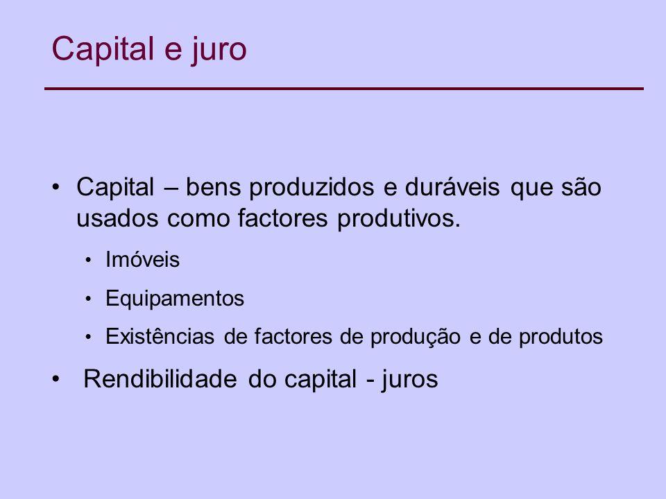 Capital e juro Capital – bens produzidos e duráveis que são usados como factores produtivos.