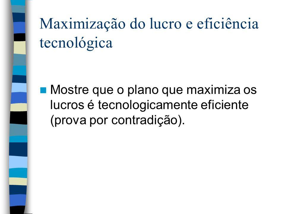 Maximização do lucro e eficiência tecnológica Mostre que o plano que maximiza os lucros é tecnologicamente eficiente (prova por contradição).