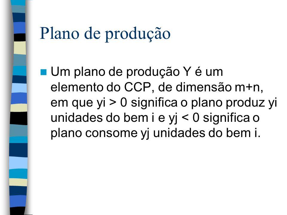 Plano de produção Um plano de produção Y é um elemento do CCP, de dimensão m+n, em que yi > 0 significa o plano produz yi unidades do bem i e yj < 0 s