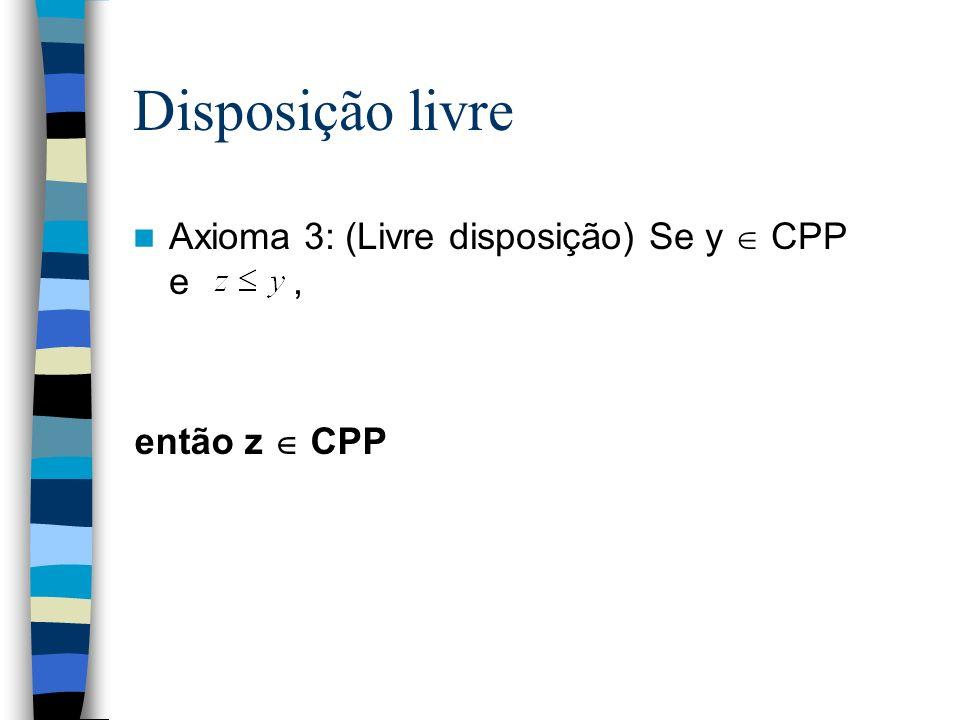 Disposição livre Axioma 3: (Livre disposição) Se y CPP e, então z CPP