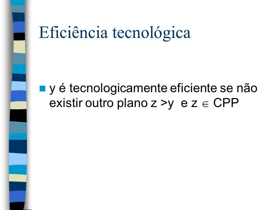 Eficiência tecnológica y é tecnologicamente eficiente se não existir outro plano z >y e z CPP