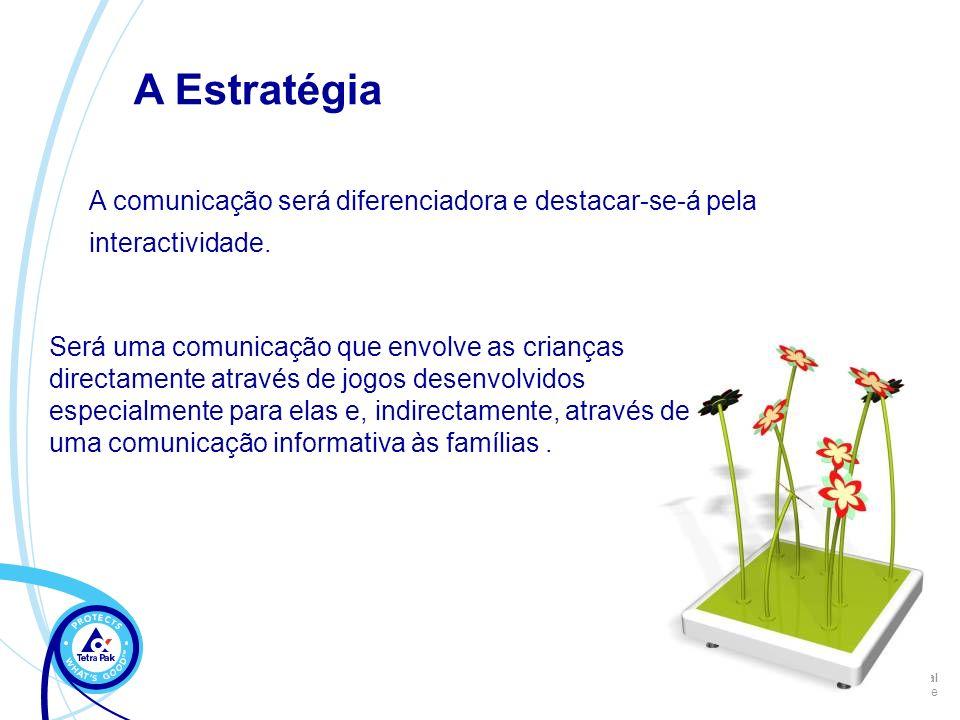 Internal Author / Date A comunicação será diferenciadora e destacar-se-á pela interactividade. A Estratégia Será uma comunicação que envolve as crianç