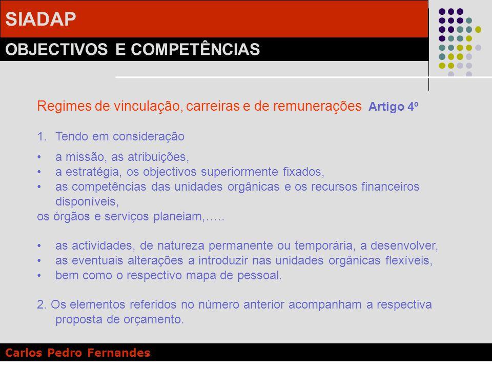 SIADAP OBJECTIVOS E COMPETÊNCIAS Carlos Pedro Fernandes Regimes de vinculação, carreiras e de remunerações Artigo 4º 1.Tendo em consideração a missão,