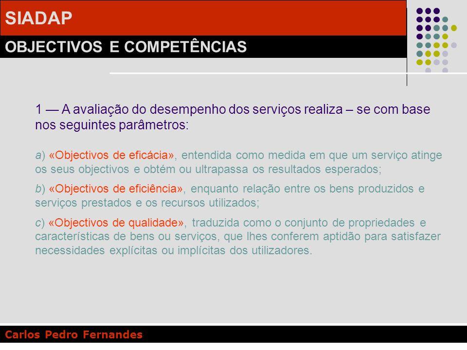 SIADAP OBJECTIVOS E COMPETÊNCIAS Carlos Pedro Fernandes 1 A avaliação do desempenho dos serviços realiza – se com base nos seguintes parâmetros: a) «O