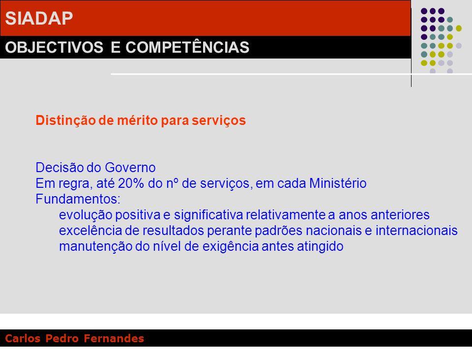 SIADAP OBJECTIVOS E COMPETÊNCIAS Carlos Pedro Fernandes Distinção de mérito para serviços Decisão do Governo Em regra, até 20% do nº de serviços, em c