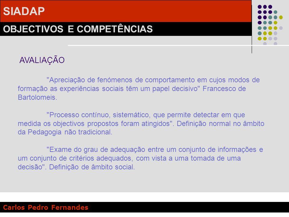 SIADAP OBJECTIVOS E COMPETÊNCIAS Carlos Pedro Fernandes A Avaliação de Desempenho é uma avaliação sistemática de empregados feita pelos superiores ou outros que estejam familiari-zados com o seu desempenho no trabalho in TIFFIN Psicologia Industrial .