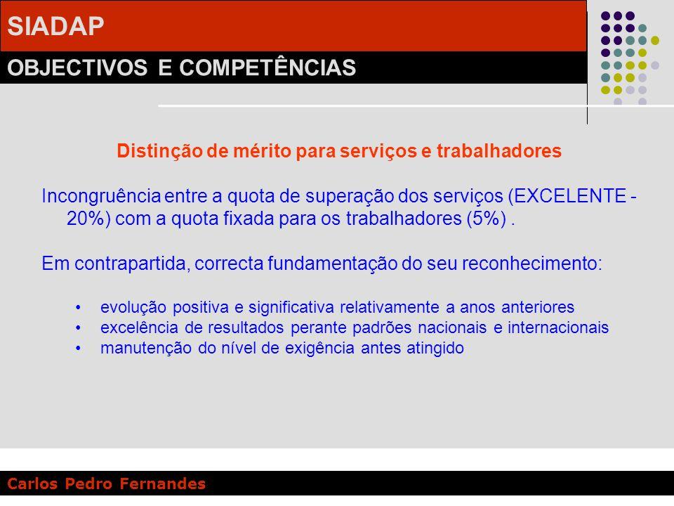 SIADAP OBJECTIVOS E COMPETÊNCIAS Carlos Pedro Fernandes Distinção de mérito para serviços e trabalhadores Incongruência entre a quota de superação dos