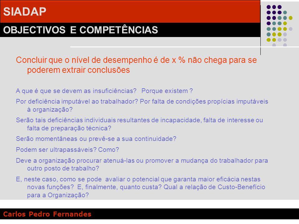 SIADAP OBJECTIVOS E COMPETÊNCIAS Carlos Pedro Fernandes Concluir que o nível de desempenho é de x % não chega para se poderem extrair conclusões A que
