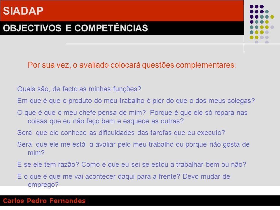 SIADAP OBJECTIVOS E COMPETÊNCIAS Carlos Pedro Fernandes Por sua vez, o avaliado colocará questões complementares : Quais são, de facto as minhas funçõ