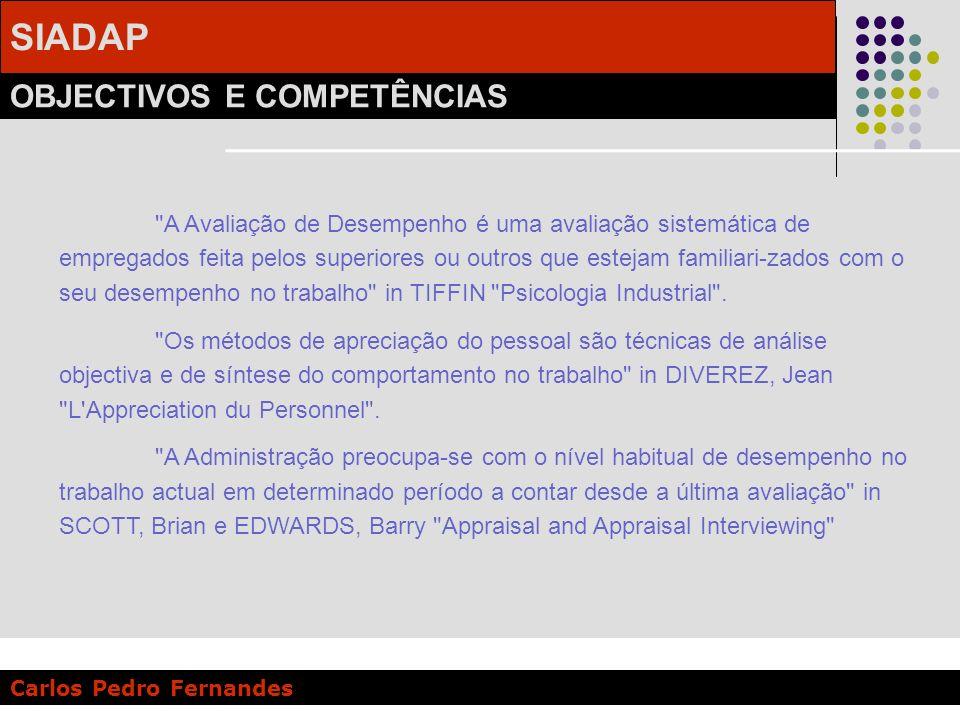 SIADAP OBJECTIVOS E COMPETÊNCIAS Carlos Pedro Fernandes AVALIAÇÃO DE DESEMPENHO… NÃO É, NEM PODE SER: Uma mera consequência aritmética de fundamento formal.