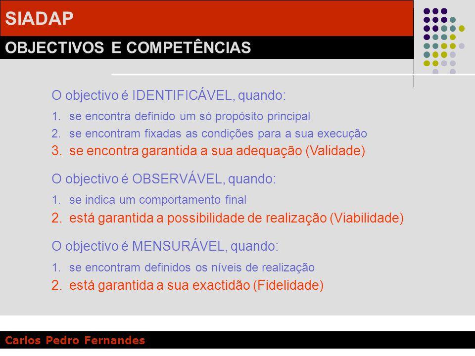 SIADAP OBJECTIVOS E COMPETÊNCIAS Carlos Pedro Fernandes O objectivo é IDENTIFICÁVEL, quando: 1.se encontra definido um só propósito principal 2.se enc