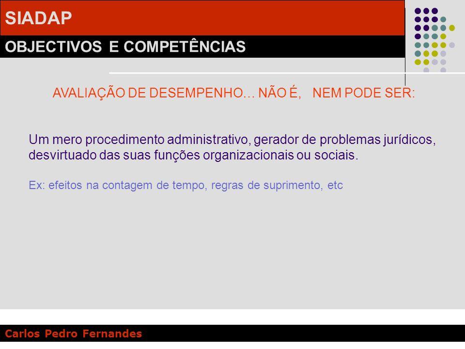 SIADAP OBJECTIVOS E COMPETÊNCIAS Carlos Pedro Fernandes AVALIAÇÃO DE DESEMPENHO… NÃO É, NEM PODE SER: Um mero procedimento administrativo, gerador de