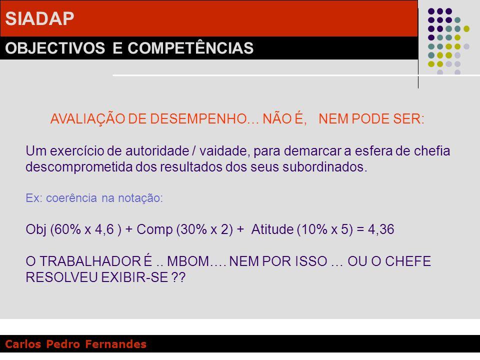 SIADAP OBJECTIVOS E COMPETÊNCIAS Carlos Pedro Fernandes AVALIAÇÃO DE DESEMPENHO… NÃO É, NEM PODE SER: Um exercício de autoridade / vaidade, para demar