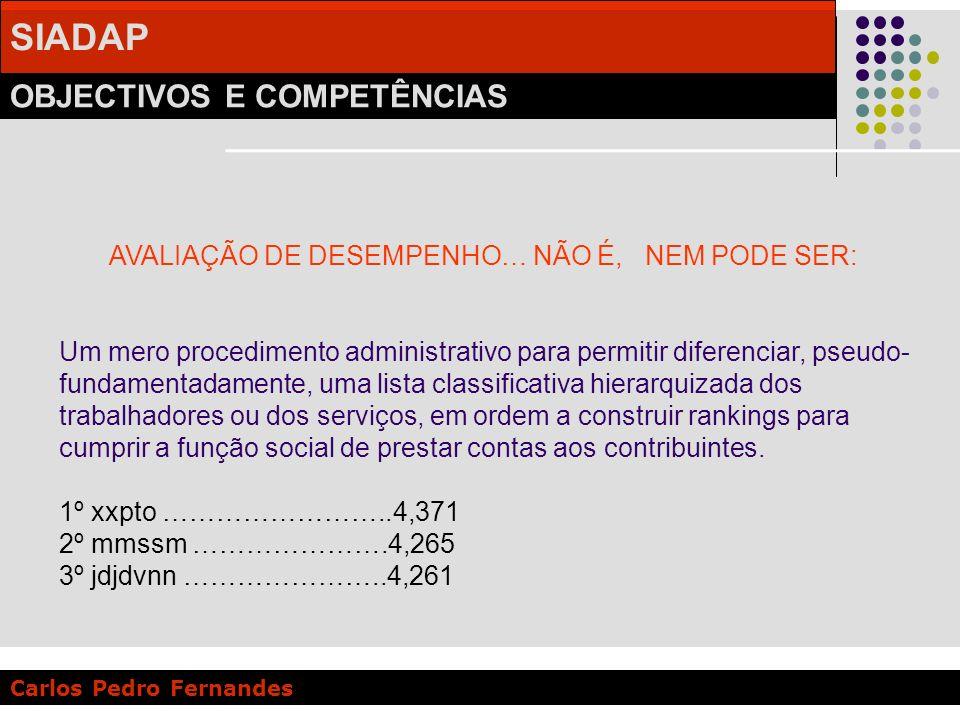 SIADAP OBJECTIVOS E COMPETÊNCIAS Carlos Pedro Fernandes AVALIAÇÃO DE DESEMPENHO… NÃO É, NEM PODE SER: Um mero procedimento administrativo para permiti