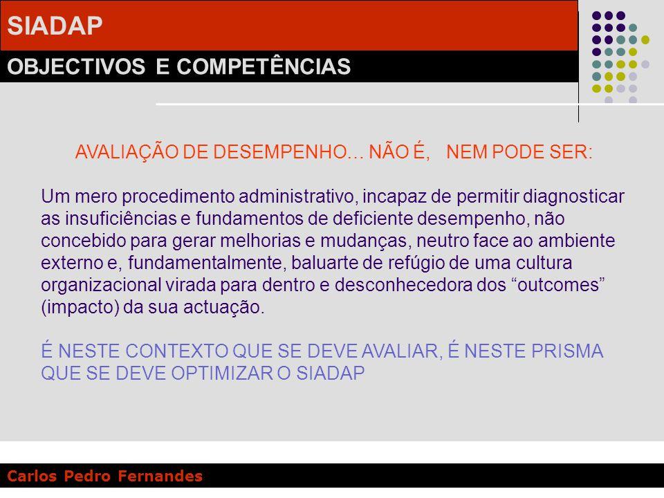 SIADAP OBJECTIVOS E COMPETÊNCIAS Carlos Pedro Fernandes AVALIAÇÃO DE DESEMPENHO… NÃO É, NEM PODE SER: Um mero procedimento administrativo, incapaz de