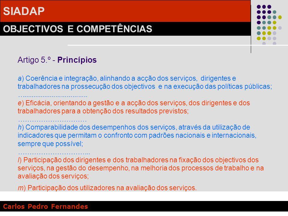 SIADAP OBJECTIVOS E COMPETÊNCIAS Carlos Pedro Fernandes Artigo 5.º - Princípios a) Coerência e integração, alinhando a acção dos serviços, dirigentes