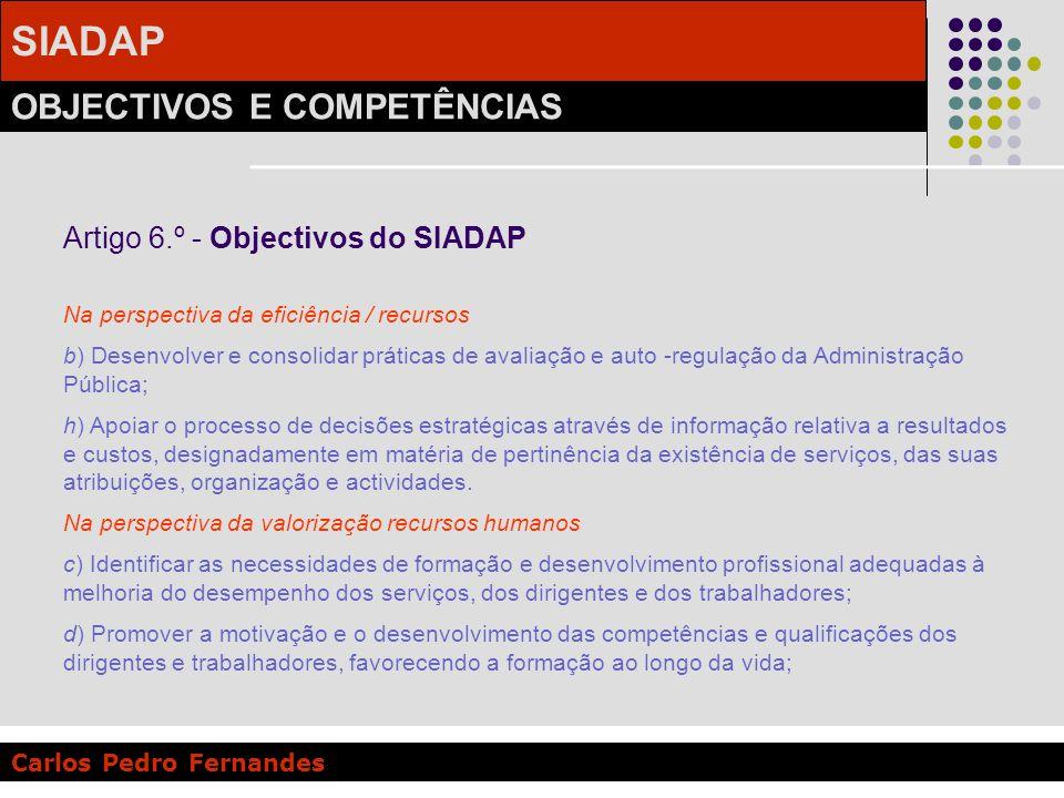 SIADAP OBJECTIVOS E COMPETÊNCIAS Carlos Pedro Fernandes Artigo 6.º - Objectivos do SIADAP Na perspectiva da eficiência / recursos b) Desenvolver e con