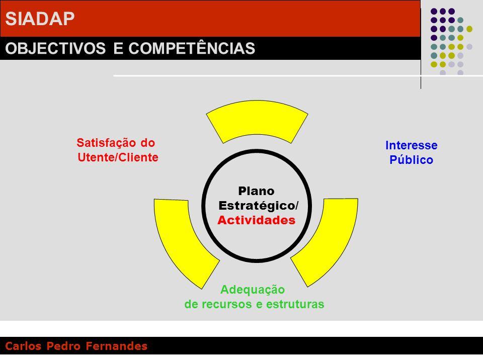 SIADAP OBJECTIVOS E COMPETÊNCIAS Carlos Pedro Fernandes Plano Estratégico/ Actividades Satisfação do Utente/Cliente Interesse Público Adequação de rec