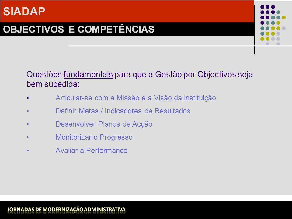 SIADAP OBJECTIVOS E COMPETÊNCIAS Carlos Pedro Fernandes Questões fundamentais para que a Gestão por Objectivos seja bem sucedida: Articular-se com a M