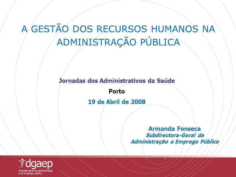 11 Armanda Fonseca Subdirectora-Geral da Administração e Emprego Público A GESTÃO DOS RECURSOS HUMANOS NA ADMINISTRAÇÃO PÚBLICA Jornadas dos Administr