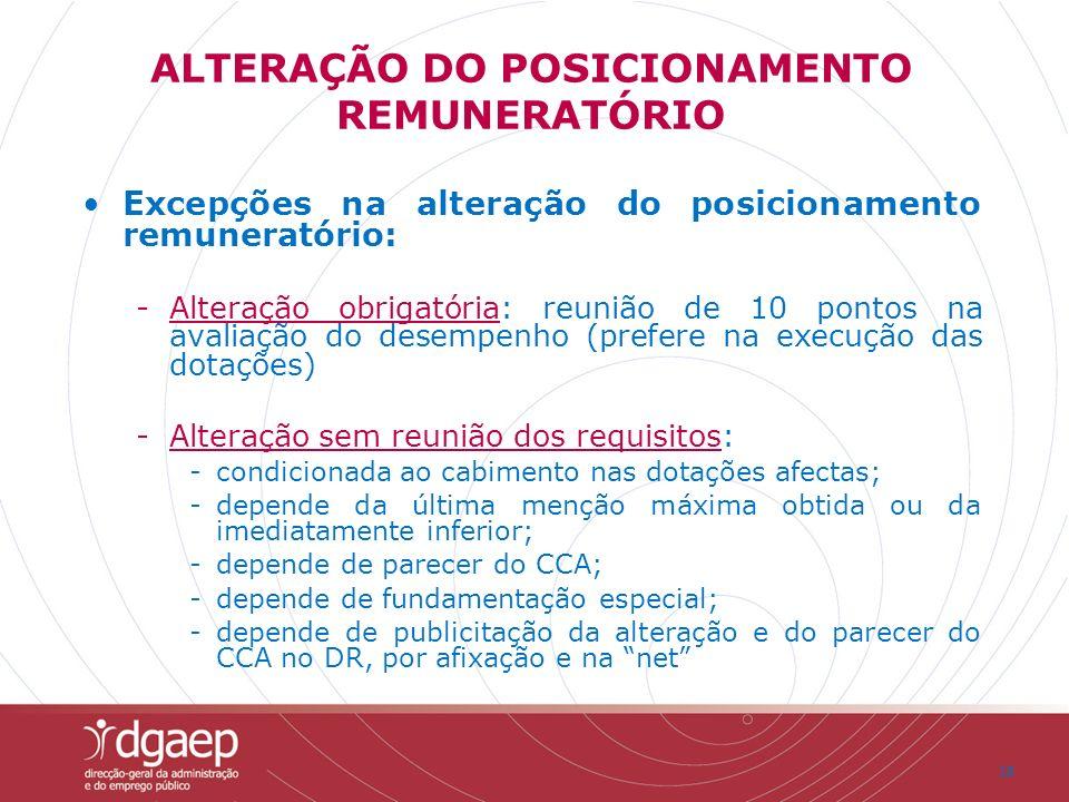 18 Excepções na alteração do posicionamento remuneratório: -Alteração obrigatória: reunião de 10 pontos na avaliação do desempenho (prefere na execuçã