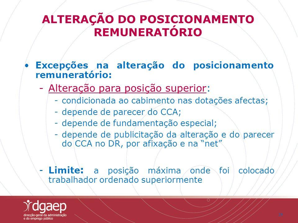 19 Excepções na alteração do posicionamento remuneratório: -Alteração para posição superior: -condicionada ao cabimento nas dotações afectas; -depende