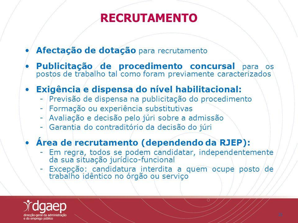 21 Afectação de dotação para recrutamento Publicitação de procedimento concursal para os postos de trabalho tal como foram previamente caracterizados